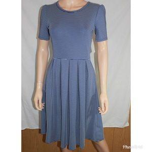 LuLaRoe Amelia Blue White Striped Dress